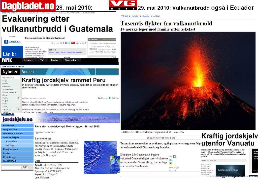 Endetidstegn Mark 24 v7 Mark 13v8 Vulkaner jordskjelv mai 2010
