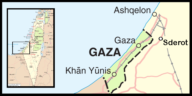 Gaza, Sderot, on a map