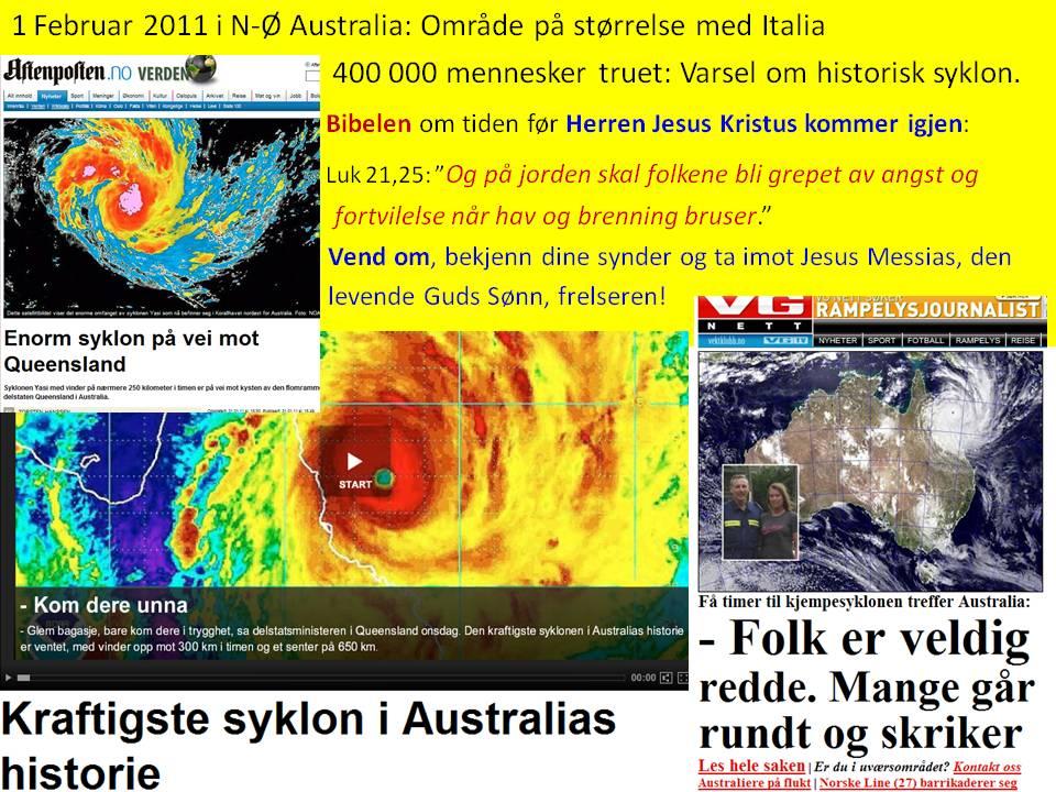 Historisk gigant Syklon Australia varsel 1 feb 2011