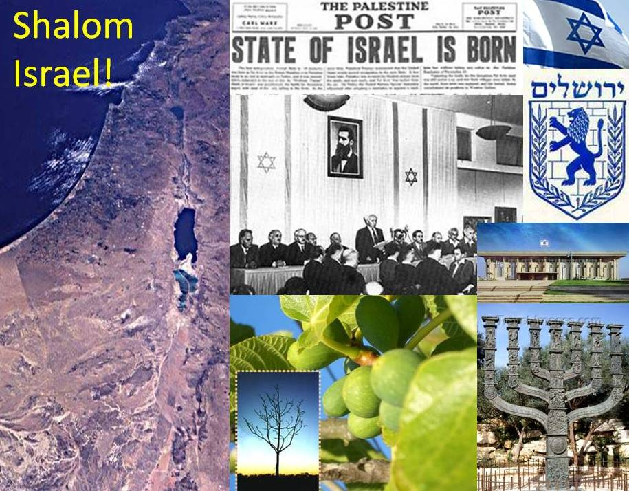 The reestablishment of the jewish state of Israel Declaration of independence 1948 David Ben Gurion Menorah Knesset Erez Israel